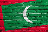 Maldives Flag painted on brick wall — Stock Photo