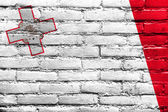 Malta Flag painted on brick wall — Stock Photo