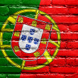 Portugal Flag painted on brick wall — Stockfoto