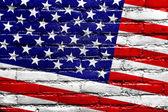 USA Flag painted on brick wall — Stock Photo