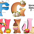 kitchen alphabet f thru j — Stock Vector