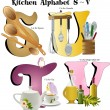 Постер, плакат: Kitchen Alphabet S thru V