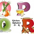 kitchen alphabet o thru r — Stock Vector