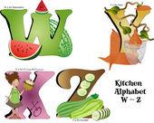 Kitchen Alphabet W thru Z — Stock Vector