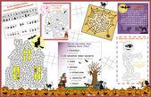 Placemat Halloween Printable Activity Sheet 1 — Stock Vector