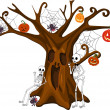 Stock Vector: Scared Stiff Halloween Tree