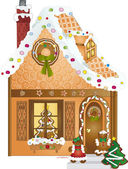 Gingerbread Village House — Stock Vector
