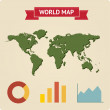 Vintage world map with infographic — Stock Vector