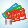 Set of credit card with padlock — Stock Vector