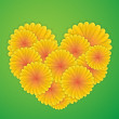 Heart with yellow flowers — Stock Vector