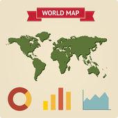 карта винтажные мира с инфографики — Cтоковый вектор