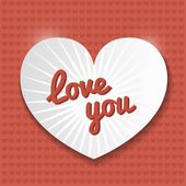 Postcard love you. Paper heart. — Vector de stock