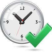 Vérifiez le symbole avec horloge — Vecteur