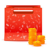 Shopping bag with coins — 图库矢量图片