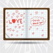 Notebook with inscription LOVE, thinking bubble and hearts — Stock Vector