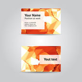 Business card with orange abstract pattern — Vector de stock