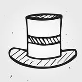 Cartoon magic top hat hand-drawn — 图库矢量图片