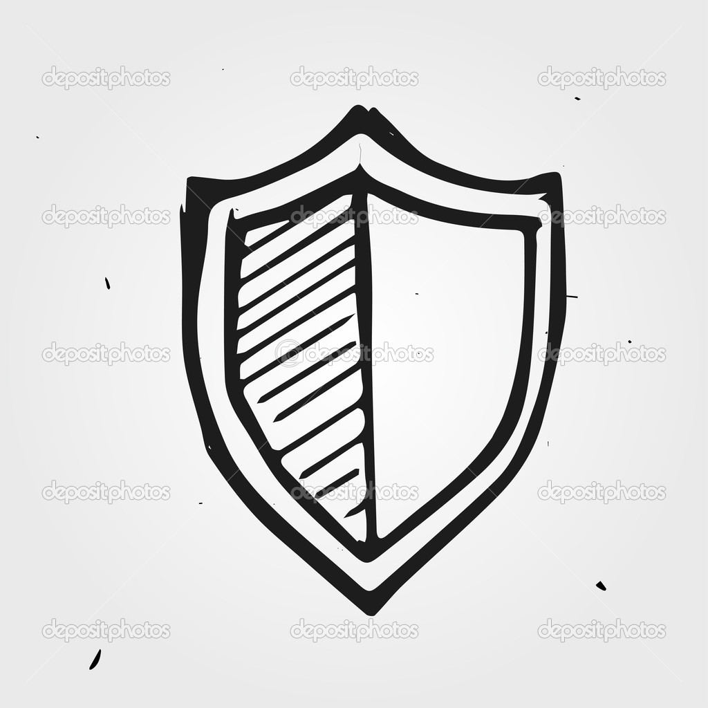 Hand Drawn Shield Shield Hand-drawn — Vector by