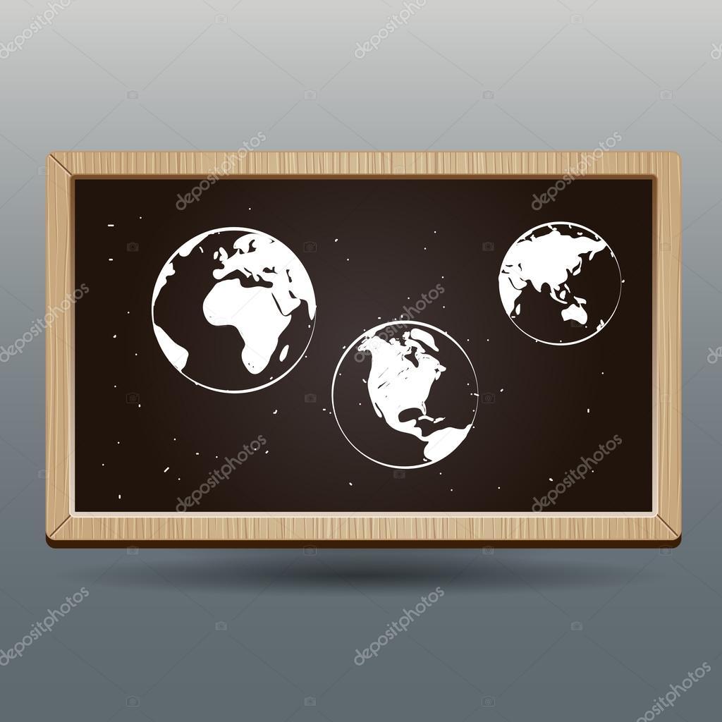手绘世界地图美丽的学校黑板上