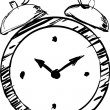 Hand drawn clock — Stock Vector