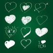 Collection of hand drawn hearts — Stock Vector