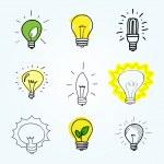 Set of Hand-drawn light bulbs — Stock Vector