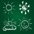 Set of Hand-drawn sun — Stock Vector