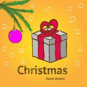 рисованной рождественский подарок — Cтоковый вектор