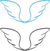 Ręcznie rysowane skrzydła — Wektor stockowy