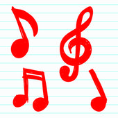 Set of Hand-drawn music notes — Vector de stock