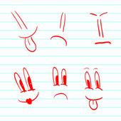 Set of hand-drawn smileys — Stock Vector