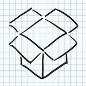 Elle çizilmiş kutusunu açma — Stok Vektör