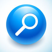 Search symbol on blue sphere — Stock Vector