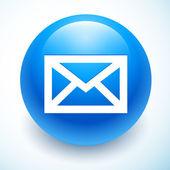Symbole de courrier sur la sphère bleue — Vecteur
