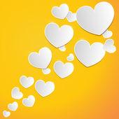 Satz der weißen Herzen mit einer Inschrift in Liebe — Stockvektor