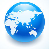 Globe icon with white map of the continents of the world — Stockvektor