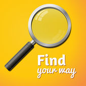 Find your way inscription, vector magnifier isolated — 图库矢量图片