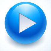 Blue play button, vector button — Stock Vector