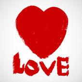 Láska grunge valentinky srdce — Stock vektor