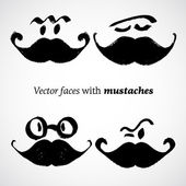 Mustaches with faces set — Stock Vector