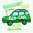 Green ecology car — Stock Vector