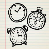 Doodle clocks set — Stock Vector