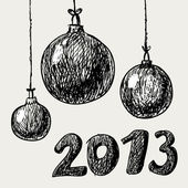 Hand drawn vintage christmas balls — Stock Vector