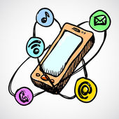 Doodle smartphone concept — Stock Vector