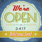 Vintage metal sign - We Are Open Come In — Stock Vector