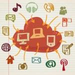 Ilustración de los medios sociales en estilo doodle — Vector de stock