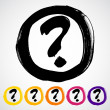 Vector hand-painted question mark sign / icon — Stock Vector