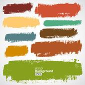 Conjunto de vectores grunge coloridas de trazos de pincel — Vector de stock