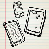 Sketches of a e-book, tablet and smartphone — Stock Vector