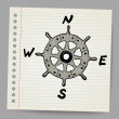 Stock Vector: Doodle steering control-compass sketch concept